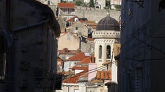Narrow street view to old picturesque town of Dubrovnik Stock Footage