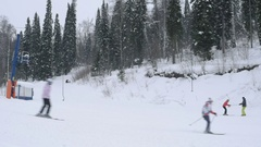 Skiing downhill in Russia Stock Footage
