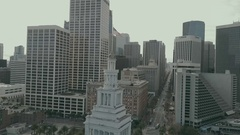Aerial Drone Ferry Building Tower Orbit Right Stock Footage