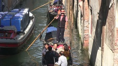 Gondoliere in Venice in Italy,  view from the Bridge Stock Footage