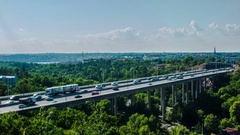 Time Lapse of elevated highway bridge Stock Footage
