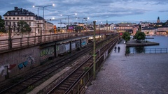 Time Lapse Tilt of city railroad tracks at night Arkistovideo