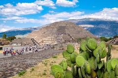 View of Teotihuacan, a major archaeological site in Mexico, with Stock Photos