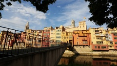 Picturesque city of Girona. Stock Footage