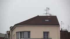 Tv antennas on roof Stock Footage