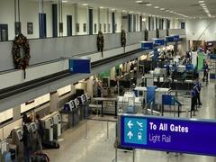 Salt Lake City International Airport ticket counter TSA DCI 4K Stock Footage