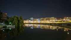 Time Lapse of urban canal at night Stock Footage