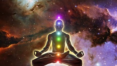 Person in lotus yoga pose achieving enlightenment Seven Chakras Space Version Stock Footage