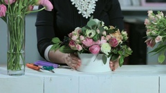 Florist show wedding bouquets in white wooden table Stock Footage