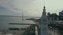 Aerial Drone Ferry Building Bay Bridge San Francisco Stock Footage