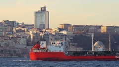 Palmali Oil Products Tanker Ship sails past the city skyl Stock Footage