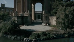 Palace of Fine Arts Crane Tracking Down Stock Footage