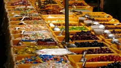 Lots of candy on night market in Tainan Stock Footage