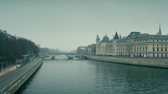 Seine river and famous Conciergerie, former prison and present law courts place Stock Footage