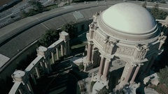 Palace of Fine Arts Orbit Tracking San Francisco Skyline Stock Footage