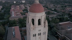 Stanford Hoover Tower Orb Jib Down Pan Up Stock Footage