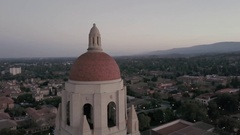 Stanford University Hoover Tower Orbiting Pan Down Stock Footage