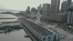 Aerial Drone Ferry Building San Francisco Orbit Left Wide Stock Footage