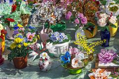 The flower compositions in pots made by a beadwork method. City fair, Russi.. Stock Photos