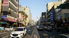 Chinese signs in local street of Tainan Stock Footage