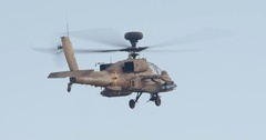 Apache longbow attack helicopter firing 30mm canon Stock Footage