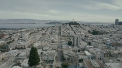 San Francisco Aerial Drone Fly over with Coit Tower and Alacatraz Stock Footage
