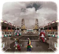 Clowns at a fair midway depiction Stock Photos