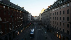 City street in Stockholm. Bus and cars driving by Stock Footage