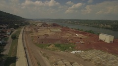 Aerial shot showing raw materials used in manufacturing Stock Footage
