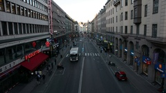 City road in Stockholm. Truck driving by Stock Footage