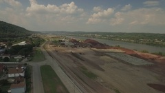 Fly over of industrial park in Aliquippa, PA Stock Footage