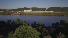 Fly toward U.S. Gypsum Plant in Western Pennsylvania Stock Footage
