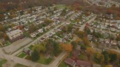 Aerial shot of neighborhood in Ambridge, Pennsylvania Stock Footage