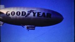 The Good Year Blimp flies over Florida coastline, 3894, vintage film home movie Stock Footage