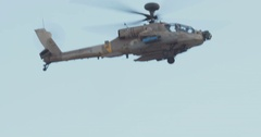 AH-64D apache attack helicopter in flight Stock Footage