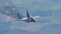 Mikoyan Gurevich MiG-29 Fulcrum of Polish Air Force Air to Air 4K Ultra HD. Stock Footage