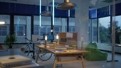 4K Interior of empty creative office with dusky light. No people.  Stock Footage