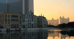 Macao skyline sunset Stock Footage