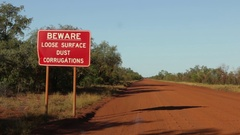 Warning Road Conditions for the Gibb River Road sign Stock Footage