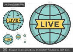 Live broadcasting line icon Stock Illustration
