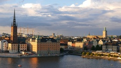 Stockholm city skyline. Riddarholmen and Gamla Stan Stock Footage