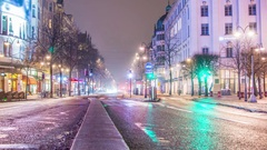 Time Lapse of street in Stockholm city center at night Stock Footage