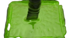 GREEN transparent liquid filling up screen, alpha matte included. 3d render Stock Footage
