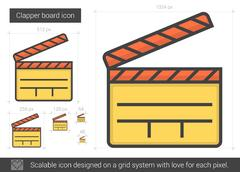 Clapper board line icon Stock Illustration