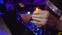 Cocktail Alcohol Prepared in Bar/ Nightclub, On Fire, Bartender Party Stock Footage
