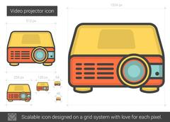Video projector line icon Stock Illustration