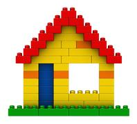 Abstract house from plastic building blocks Stock Illustration