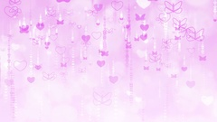 Purple Valentine's Day Background with Butterflies and Hearts. Stock Footage