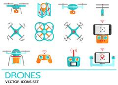 Flat icons with drones. Quadrocopter, hexacopter. Piirros