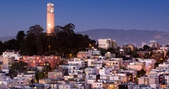 North Beach, Telegraph Hill, and Coit Tower Stock Footage